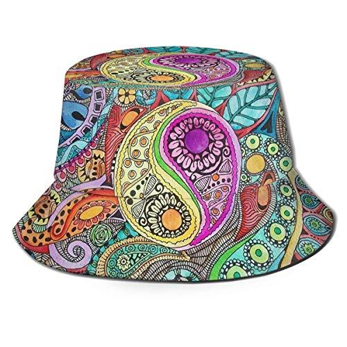 zhouyongz Bedruckte Hippie Art Fisherman Polyester Hut Casual Reise Kopfbedeckung Sonnenhut Fischerhut