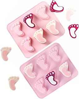 KALAIEN 2 Pack 6 Cavities Baby Foot Silicone Molds for Baby Shower Party Birthday Cake Decoration Gumpaste Baby Footprint Candy Soap Cupcake Topper Decorating (Pink)