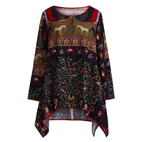 Tefamore Camisas Mujer Tallas Grandes Estampado Manga Larga Blusa de M