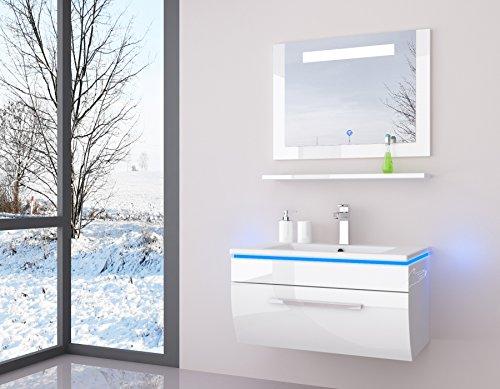 Atlantis Badmöbel Set 90 cm weiß Hochglanz lackiert Spiegel mit Beleuchtung, Waschbecken