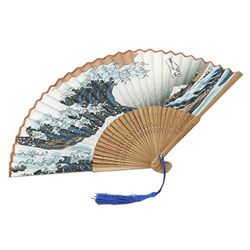 FOLOSAFENAR Japon Fans Fleurs Sculpté Danse Chambre Bureau Ventilateur(Head Blue Sapphire Tassel)