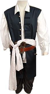 FUMAN Pirates of The Caribbean Jack Sparrow Chaqueta Chaleco Belt Camiseta Pantalón Disfraz Set