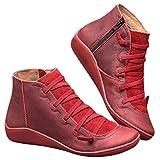 ZODOF 2019 Mujer Botines Venta De Cuero De Imitación, A Prueba De Agua Para El Otoño Y El Invierno, Zapatos De Cordones De La Vendimia, Pisos De Las Mujeres Cómodas(rojo,39.5 EU)