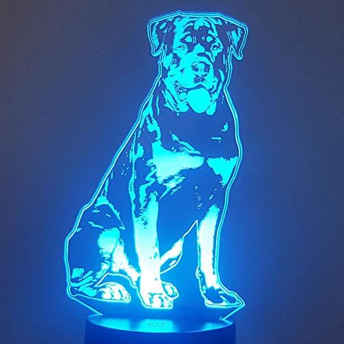 Luz de ilusión 3D, luz de noche Led, lámpara de escritorio para modelado de perros, lámpara colorida para escritorio de perro Habba, lámpara de mesa pequeña