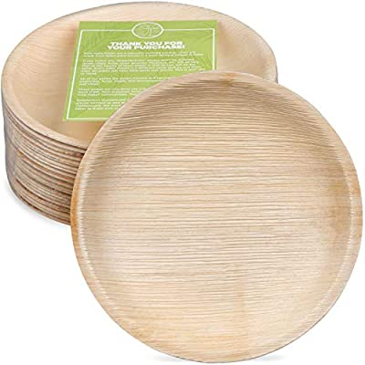 """Pure Palm Planet Friendly Palm Leaf Plates; Bamboo-Style, Upscale Disposable Dinnerware; All-natural Biodegradable Plates (10"""" Round) (25 Pack)"""