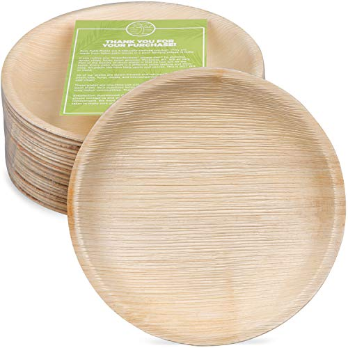 Pure Palm Planet-Friendly Palm Leaf Plates; Bamboo-Style, Upscale Disposable Dinnerware; All-natural Biodegradable Plates (8.5' Round) (25 Pack)