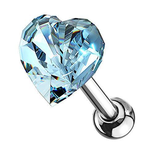 Piercingfaktor Tragus Helix Ohr Cartilage Knorpel Ear Piercing 316 L Chirurgenstahl Stecker Stud mit Kristall Strass Herz Silber Hellblau