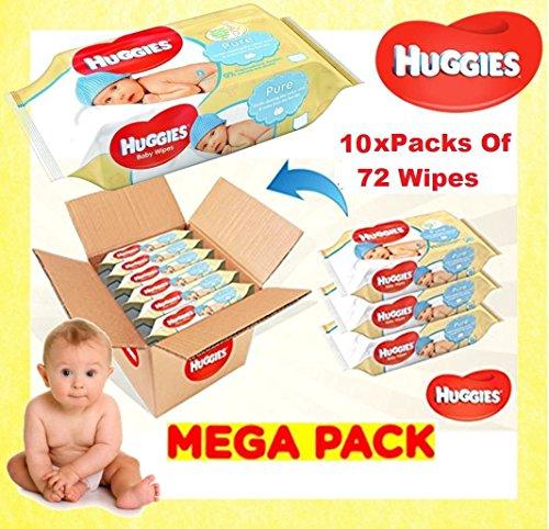 Huggies Pure Baby Toallitas – Paquete de 10 (10 paquetes de 72 unidades, total 720 toallitas) Talla:one