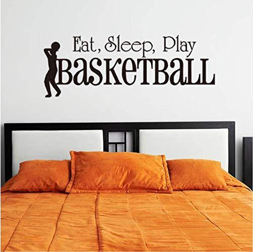Eat Sleep Play Baloncesto palabra vinilo interruptor adhesivo extraíble decoración del hogar Accesorios pared etiqueta