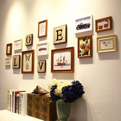 Massivholz Foto wand Mediterrane schreiben Bilderrahmen Wohnwand Wohnzimmer Wände Ideen LiebeLiebe,Holz-Korn mix