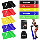 Allvodes Exercise Bands for Working Out, Resistance Bands Set with 5 Resistance Levels, Skin-Friendly Elastic Bands with Carrying Pouch for Home Workout, Strength Training, Yoga, Pilates