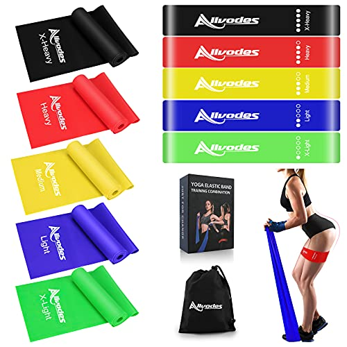 Resistance Bands Set, Exercise Bands Workout Bands for Working Out, Booty Bands for Women Men,Home Fitness,Stretching,Strength Training,Physical Therapy,Non-Latex Elastic Band,Pilates Flexband,10Pack