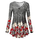 Encolure dégagée Femmes Manches Longues Blouse Grande Taille Top Tunique Chemise Malloom (FR:44(2XL), Multicolore)