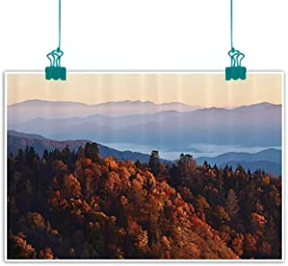 National Parks Home Decor Living Room Decorative Painting Sunrise at Mountains Pine Trees Covered on Hill Mist South Carolina Modern Minimalist Atmosphere 24