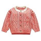 Zhen+ Unisex Baby Strickjacke Cardigan Sweater Pullis für 0-3 Jahre Mädchen Jungen Gestrickter Sweatshirt Bluse Einfarbige mit Knöpfe Für Winter Frühlings Herbst Outfits (0-6 Monate, Rosa)