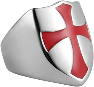 Mens Knights Templar Red Cross Ring Stainless Steel Shield Band,Silver Gold Black, Size 7-14