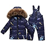 LSHEL - Traje de esquí para niña, para niña, con capucha de pelo artificial, chaqueta de invierno con pantalón de plumón, juego de ropa de nieve, 2 piezas Azul de dibujos animados. 6 años
