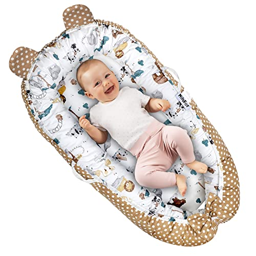 Co-Sleeping Baby Lounger, MILYFER Baby Nest Sleeper for Newborn, Portable & Breathable Co-Sleeper for Baby in Bed - Perfect for Cribs & Bassinet, Infant Shower Gift Essential
