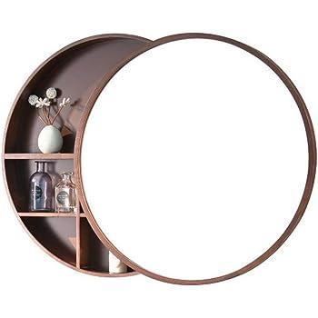 Runder Badezimmerspiegel.Amazon De Runder Spiegel Badezimmer Spiegelschrank Schiebe Spind Walnuss Holz Wand Montiert Spiegel