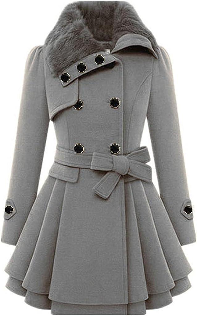 Womens Lightweight Hooded Fleece Coats Faux Fur Jackets Windbreaker Button Asymmetrical Hem Winter Warm Outwear