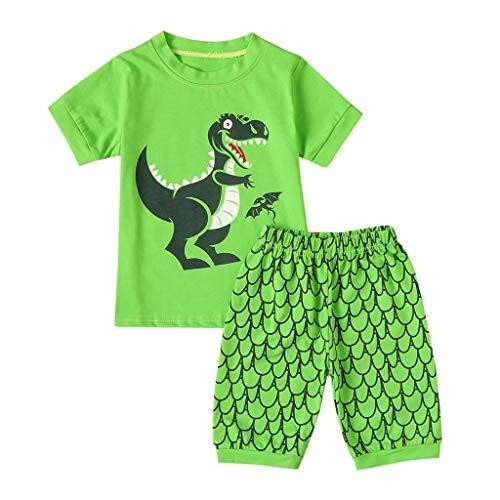 1-6 Años,SO-buts Bebé Niños Dibujos Animados Dinosaurio Imprimir Tops Camisetas Pantalones Cortos Pijamas Ropa De Dormir Conjunto De Trajes Chándal Casual (Verde,5-6 años)