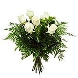 Florclick - Bouquet de 6 rosas blancas - Ramo de flores naturales en 24 horas y envío GRATIS