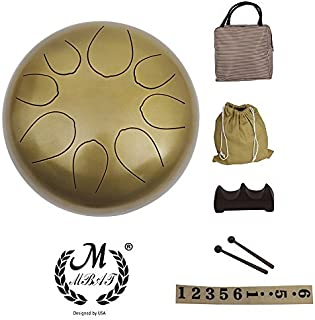 as described Meditation Party kesoto 5.5 Inch 8 Tones Steel Tongue Drum Tank Drum Small Hand Percussion with Sticks Bag for Camping Yoga Green