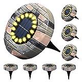 ZWOOS Luces solares de suelo, 8 Piezas 16 LED Iluminación de caminos, Luz de Tierra Impermeables IP65 para Jardín, Patio, Césped