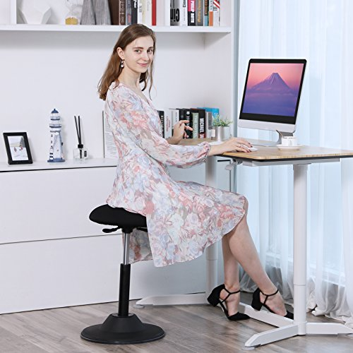 SONGMICS Active stool, Adjustable Height Standing Stool, 360° Swivel Sitting Balance Chair, for Office Home, Black UOSC01BK