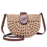JOSEKO Bolso de hombro tejido de paja para mujer, bolso de playa de verano, bolso bandolera de paja, bolso de mano tejido, viajes al aire libre (Marrón Claro #01)