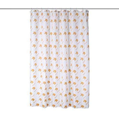 axentia Duschvorhang Einhorn weiß/gold, hochwertige Duschgardine blickdicht 180 x 180 cm, wasserabweisender Badewannenvorhang, waschbarer Vorhang für Dusche & Bad