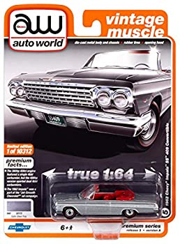 Auto World 1962 Chevrolet Impala SS Convertible Silver 1 64 Die-Cast Model Car