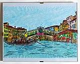 Venedig, Rialtobrücke-Air-farbiges Originalgemälde, Aquarelltechnik + Maße des Holzrahmens cm 32,4x23,7x0,7 cm. Hergestellt in Italien, Toskana, Lucca, erstellt von Davide Pacini.