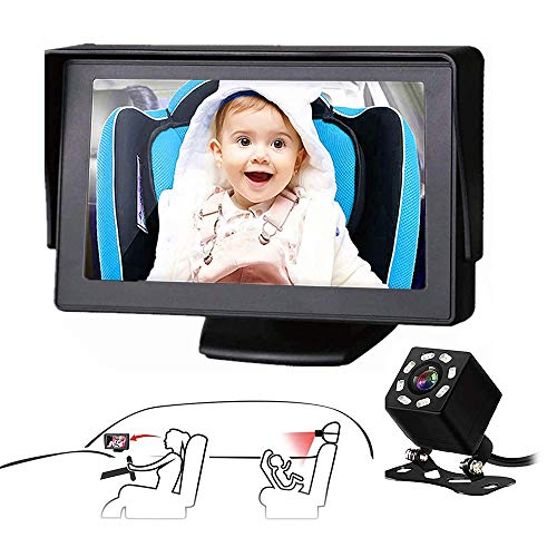 2021 Upgraded Baby Car Mirror, 5'' HD Car Baby Seat Mirror Camera and Monitor with Infrared Night Vision, Car Baby Mirror Display, Best Baby Monitor and Camera for Baby Car Seat Rear Facing