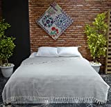 VAROL Diamond Colcha, Ropa de Cama turca, Manta de sofá, Manta de Cama, Manta de algodón Ligera turca 200 cm x 230 cm (Gris)
