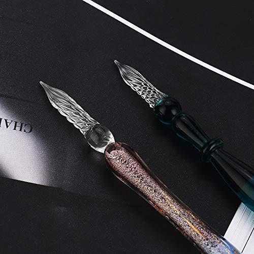 Mancolaペン2*本体インクガラスディップペンインクセットレインボークリスタルガラスペン、アート、ライティング、署名、書道、装飾用の12種類のインクMA-JP-16