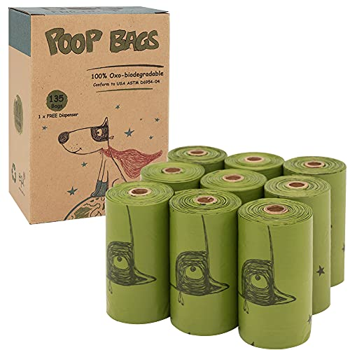 Ley's Dog Poop Bags, Biodegradable Poop Bags for Dogs, Unscented, Leak Proof, Eco-Friendly Doggie Waste Bags Refill Rolls with Dispenser and Leash Clip