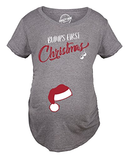 Crazy Dog T-Shirts Bumps First Christmas Maternity Shirt Funny Merry Tee for New Pregnant Family (Dark Heather Grey) - L
