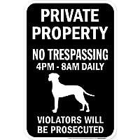 PRIVATE PROPERTY ブラックマグネットサイン:ダルメシアン シルエット 英語 私有地 無断立入禁止