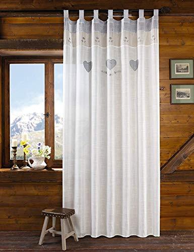 """Deko-Schal """"Land-Herz"""" 140 x 250 cm, mattweiß in Leinen-Optik, transparent, mit Stickerei & Borte im Landhaus-Stil, Schlaufenschal"""