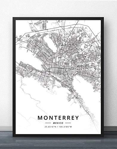 ZWXDMY Impresión De Lienzo,Mapa De La Ciudad De Monterrey M