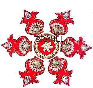 PRAHLL Reusable Designer Kalash Shape Acrylic Rangoli (Red , 9-inch Diameter) -7 Pieces