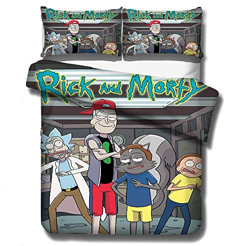 SixyeLiuzhi 3D bettwäsche Set Bettbezüge Kissenbezüge tröster bettwäsche-Sets Rick und Morty bettwäsche Bett leinen Rick Sanchez,140x210cm(2Stück)