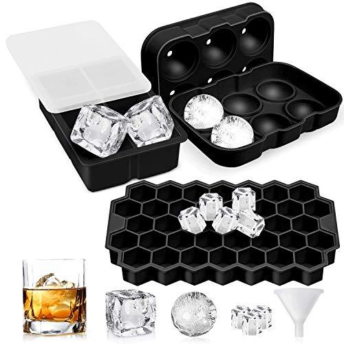 Eiswürfelform Silikon, 3 Stück Sphärische quadratische Wabeneiswürfelform Eiswürfelbehälter mit Deckel, Ice Cube Tray, Würfel Eiswürfel Kugel Form für Gin Whisky Cocktails Säfte Süßigkeiten