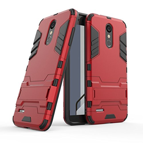 HDRUN LG K9 / LG K8 2018 Hülle, 2 In1 Kratzfeste Handyhülle Hybrid TPU Silikon Bumper Schale PC Doppelschichter Schutzhülle Standfunktion für LG K8 2018 Hülle Cover, Rot