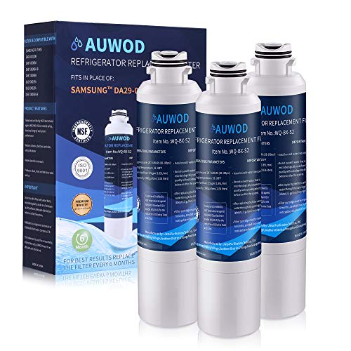 AUWOD DA29-00020B Refrigerator Water Filter Replacement. Compatible with Samsung Models: DA29-00020B-1, DA29-00020B, Haf-CinExp, RF4267HARS, RF28HMEDBSR, RF28HFEDBSR, More Samsung Models (3 Pack)