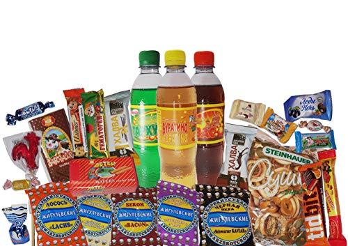 QueenBox® 🍫 Russische Süssigkeiten 🍬Großpackungen 20xSüßigkeiten aus Russland | aus aktueller Produktion 🍭Schokolade,Gebäck,Fruchtgummis,Chips Party Box Snackbox Candy Mix Russia snacks