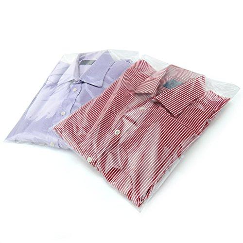 Hangerworld 40 Bolsas para Camisas 30cm x 40cm Plástico Transparente Cierre con Pestaña Autoadhesiva