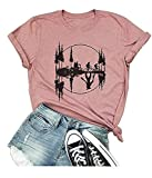 Womens Stranger Things Upside Down T-Shirt Vintage Retro 80s Novelty Funny Graphic Tees Pink