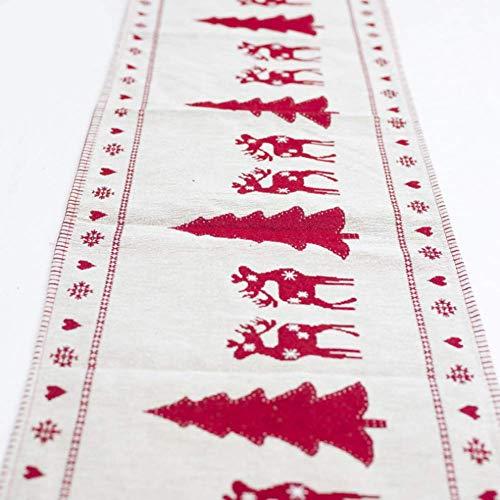 Star Supermarket Kerstmis tafelkleed, sneeuwpop eland geborduurd print katoen tafelkleed afdekking voor thuis kerstfeest decoratie